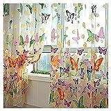 Gardinen - TOOGOO(R) Farbige Schmetterling Gardine Transparent Vorhang Zimmer Deko (200 x 100cm)