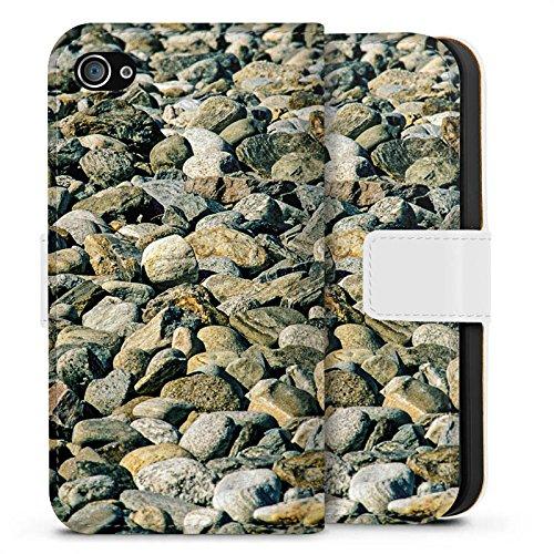 Apple iPhone X Silikon Hülle Case Schutzhülle Steine Fels Natur Sideflip Tasche weiß