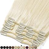 Extension Clip Capelli Veri 8 Fasce Remy Human Hair Full Head XL Set Lisci Lunga 24 pollici 60cm Pesa 110grammi, 60 Biondo Platino