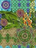 Vilber Bohemian Mandala Tapis, Vinyle, Multicolore, 75x 120x 0,2cm