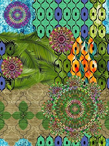 Vilber Bohemian Mandala Alfombra, Vinilo, Multicolor, 75x120x0.2 cm