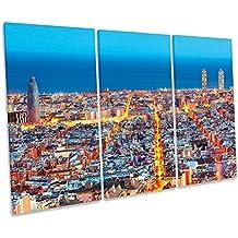 Barcelona España Skyline agudos caja de lienzo cuadro Impresión, 120cm wide x 80cm high