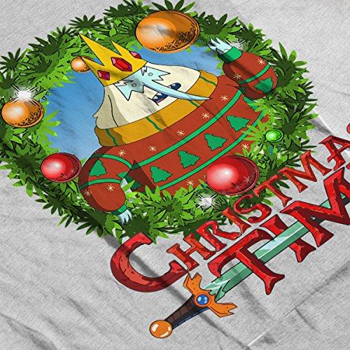 Adventure Christmas Time Wreath Ice King Cartoon Network Men's Vest Heather Grey
