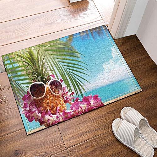 ZZ7379SL Kreative Früchte Dekor Ananas mit Sonnenbrille und Blume Halskette am Strand Bad Teppiche 3D-Digitaldruck 40x60CM Schlafzimmer Küche Kinder Badezimmer Matte Zubehör