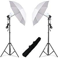HIFFIN® E27 Studio Single Holder KIT Umbrella White + Studio Light Stand 9 FT+ Umbrella and Bulb Holder KIT Set of 2 (2…