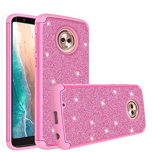 [GW USA] Moto G6Fall, Moto G (6. Generation) Case Süße Glitzer Bling stoßfest Silikon Hybrid Fall w/[Displayschutzfolie] Dual Layer Schutzhülle für Motorola Moto G614,5cm, Hot Pink