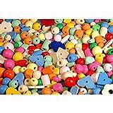 Piccolino Bastelbedarf 1000 Holzperlen pastell - farbige Holzkugeln, Holzwürfel zum Fädeln & Schmuck basteln - Perlen aus Holz in verschiedenen Pastell-Farben und Größen (1-2cm), 1kg