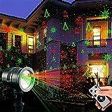 Salcar LED Lichteffekt Projektor Weihnachten Wasserdichter Gartenprojektor Weihnachtsbeleuchtung Außen und Innen mit Fernbedienung und Timerfunktion für Haus, Garten, Party, Geburtstag - rot grün
