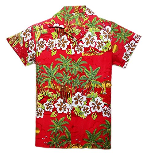 Camisa-hawaiana-para-hombre-estampada-para-la-playa-fiestas-de-verano-y-vacaciones-tallas-desde-S-hasta-XXL-multicolor-rosso-Talla-nica