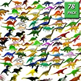 GuassLee OuMuaMua Dinosaur Figure Toys 78 Pack - Plastic Dinosaur Set Kids Toddler Education, Including T-Rex, Stegosaurus, Monoclonius, etc