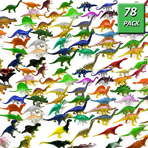 GuassLee OuMuaMua Dinosaurier Figur Spielzeug 78 Pack - Kunststoff Dinosaurier Set Kinder Kleinkind Bildung, Einschließlich T-Rex, Stegosaurus, Monoclonius, Etc.
