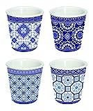 Easy Life 176AZUL Coffret 4 Tasses à Café, porcelaine fine, Bleu, 10 cm, 6.5 x 6.5 x 6.5 cm