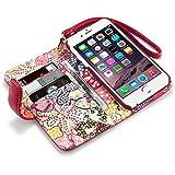 Terrapin Handy Deluxe Leder Brieftasche Case Hülle mit Kartenfächer für iPhone 6S / iPhone 6 Hülle Rot mit Blumen Interior