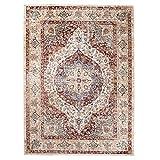 Tapiso Tibet Teppich Klassisch Kurzflor Orientalisch Medaillon Floral Ziegler Muster Creme Rot Wohnzimmer Vintage ÖKOTEX 180 x 250 cm