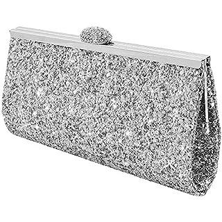 Wocharm Fashion Womens Glitter Clutch Bag Sparkly Silver Gold Black Evening Bridal Prom Party Handbag Purse (Silver)