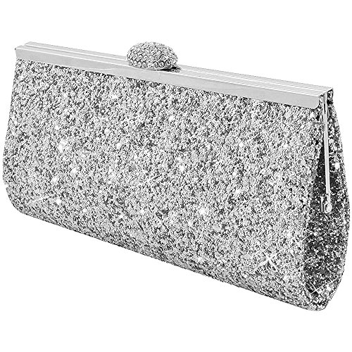 Wocharm Fashion Womens Glitter Clutch Bag Sparkly Silver Gold Black Evening Bridal Prom Party Handbag Purse (Silver)