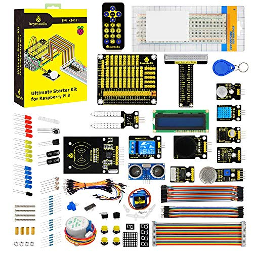 KEYESTUDIO Starter Kit for Raspberry Pi 3, 2 Model B/B+, Stepper Motor, Breadboard, GPIO Extension Board with Guidebook (PDF) (Python-starter-kit)