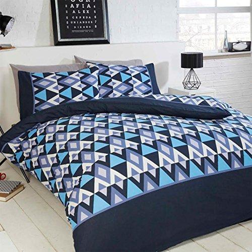 Bettbezugsset mit Hahnentritt-Muster von Just Contempo, Blue Aztec, King Size Bettwäsche Hahnentritt