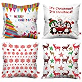 Indigifts Christmas Cushion Covers Merry Christmas Holiday Décor White Set Of 4 Cushion Cover 16x16 Inches - Christmas Cushion, Christmas Decorations For House, Xmas Decorations