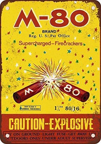 M-80Supercharged petardos reproducción de Aspecto Vintage Metal Placa metálica, 12x 18Inches