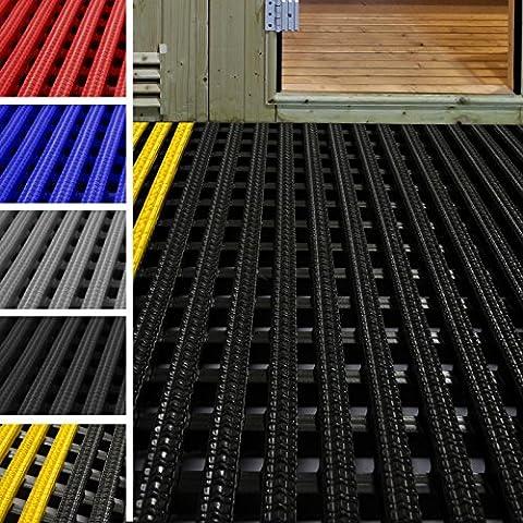 Tapis antidérapant etm® caillebotis PVC | idéal surface humide | tapis intérieur extérieur, tapis industriel | multigrip, 60x200cm - noir/jaune
