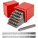 PandaHall 36PCS Lettre et Chiffre Set de Tampons en Métal, Alphabet A-Z et Numéro 0-9, Outil de Poinçonnage de Tampons en Fer