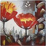 Mendola Art, Quadri dipinti a mano, motivo: papavero, 60 x 60 cm, Multicolore (Bunt)