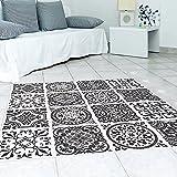 Frolahouse Schwarz und Weiß Stil 3D Bodenfliesen Aufkleber Wohnzimmer Schlafzimmer Badezimmer Wasserdichte Küche Wandbild Aufkleber 50 cm x 50 cm * 4 stücke