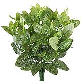 MIHOUNION 2 Bouquets Plantes en plastique artificiel Epipremnum Aureum Arbustes Feuilles à feuilles persistantes pour l'extérieur Jardin Pâques Wedding Home Table Party Décorations Grave