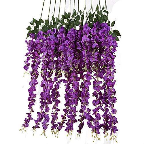 nstliche Blumen Gefälschte Wisteria Rebe Rattail Wandbehang Girlande Blumen Schnur Zuhause Party Hochzeits Dekorationen - Lila, 12pcs ()