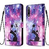 WIWJ Handyhülle für Huawei Honor 9X Hülle, Bunt Muster Premium PU Leder Flip Schutzhülle für Huawei Honor 9X Tasche - Baby Panda