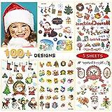 Temporäre Tattoos für Erwachsene Männer Frauen Kinder (5 Blätter), Wasserdichte Transfer Tattoo Weihnachten Gefälschte Tattoos für Arm, Schulter, Gesicht, Body Art Sticker Cover Set (NO.2)