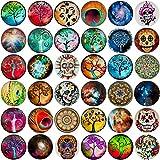 36 Click-Buttons Morella Set Knöpfe Chunks Steine für Armbänder Ringe und Halsketten Foto Print Mix 18 mm kompatibel