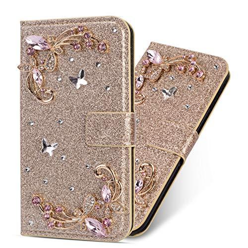 Miagon Hülle Glitzer für Huawei Mate 20,Luxus Diamant Strass Blume PU Leder Handyhülle Ständer Funktion Schutzhülle Brieftasche Cover für Huawei Mate 20,Gold