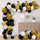 Balloon Arch Garland Kit Black White Gold Confetti Latex Balloons for Graduation Wedding Birthday Party Decorations 118pcs