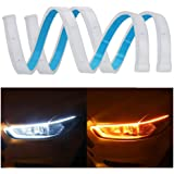 SONSOU Set of 2 Sequential Flow Universal Ultra-fine 60cm DRL | Daytime Running Light | Flexible | Soft | Tube Guide Car LED Strip | White and Yellow Color |