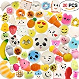 acetek Squishy Kawaii Toys 20 Stück, Party Taschen Geschenke, Kawaii & Weiche Squeeze Spielzeug, Stress abbauen, Schlüsselanhänger oder Charms Pendent Dekoration