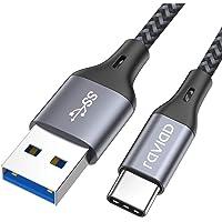 RAVIAD Cavo USB C a USB 3.0 A, Nylon Intrecciato Cavo USB Tipo C di Ricarica Rapida e Trasmissione per Samsung Galaxy S10/ S9/ S8, Huawei P30/ P20/ Mate20, Sony Xperia XZ - 1M/3,3ft, Grigio