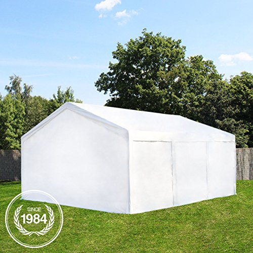 Hochwertiges Partyzelt Lagerzelt 4x6 m Zelt 240g/m² PE Plane Gartenzelt Weidezelt ! Stahlkonstruktion ! Inkl. Seitenteile + Giebelteile ! weiß -