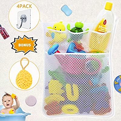Wemk Bath Toy Bag Baby Bath Toy Organiser Bathroom Storage Net With 4 Self Adhesive Robust Hooks and Shower Sponge for Baby Bath