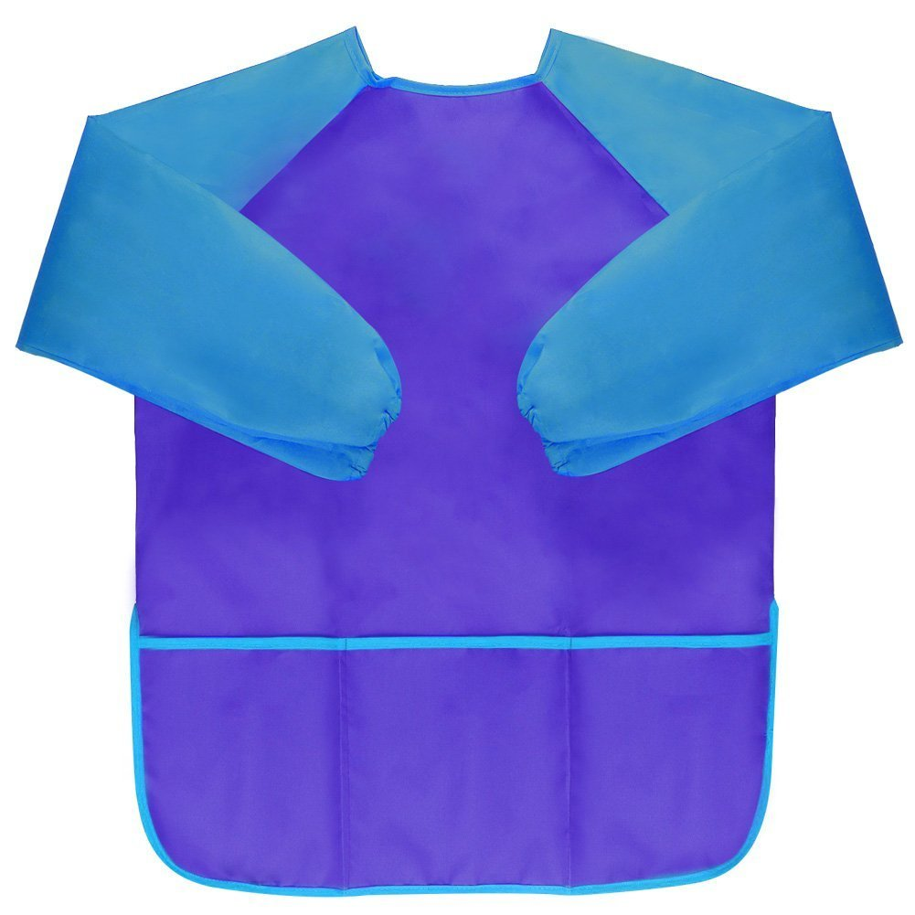 Waterproof Childrens Artist Painting Smocks with Long Sleeve 3 Pockets for Age 2-8 Years Amaza 2Pcs Kids Art Aprons Blue /& Red