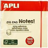 APLI 12078 - Notas adhesivas ZigZag CLASSIC 75 x 75 mm bloc de 100 hojas color amarillo