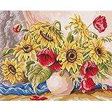 Duftin 11588amapolas y girasoles lienzo estampado de punto de algodón, 50x 60x 0,1cm), multicolor