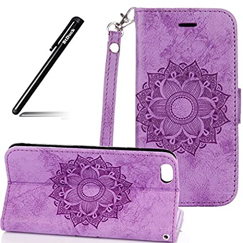 BtDuck Leather Solid Color Case Apple iPhone 6 / 6S 4.7 inch Romantic Suitable For Individuality Publicity Girl Surprise Valentine's Taste Purple Mandala Flower PU Embossed Monochrome Phone Stand Protector Flip Folio Cover Anti-slip Skin Outdoor Protection Simple Strict Shockproof Heavy Duty Robust Bumper Case Shell with Stander Oyster Card ( Travel Card Bus Pass ) Holder Slots Pocket Kickstand Function Magnetic Closure + 1 * Black Stylus Pen