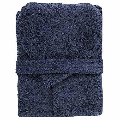 Accappatoio con cappuccio in spugna 100% cotone tinta unita uomo donna unisex mastro bianco (l, blu notte)