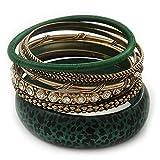 Conjunto de 7 pulseras de Animal Print verde oscuro y metal en oro antiguo