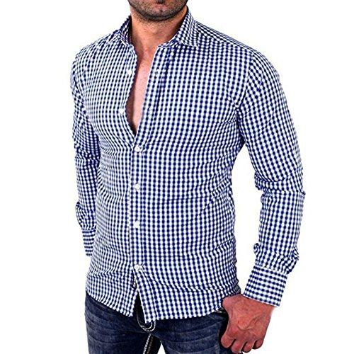 Hombres camisas de manga larga a cuadros Hombres camiseta slim fit business casual (XL, Azul)