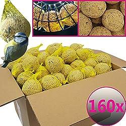 Bolas de grasa para pájaros - 160 bolas = 14,4 kg - Alimento natural con gran aporte energético para aves silvestres - Bolas de grasa con red individual para colgar