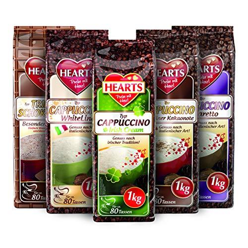 HEARTS 5er Probierpaket, 5 x 1 kg, Cappuccino- & Trinkschokoladen-Genuss