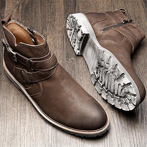 gli uomini veri stivali di pelle inglese martin stivali gli stivali di martin stivali all'antico alto chelsea boots Coffee